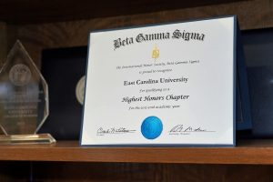 Beta Gamma Sigma certificate for Highest Honors Chapter awarded to ECU