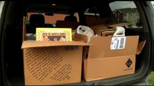 Boxes of books from the book drive
