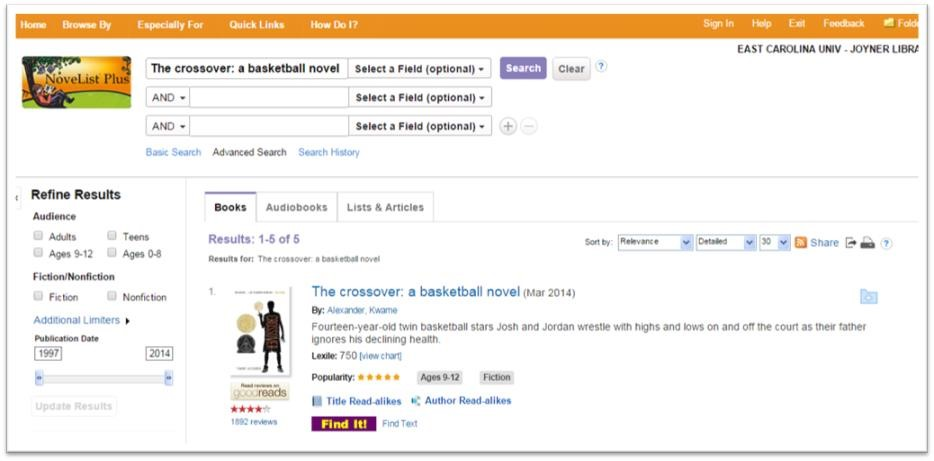 "Figure 1: The Crossover: A Basketball Novel's entry in Novelist Plus. Read-alikes are found just above the ""Find It!"" button."
