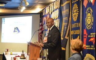 Grant Hayes, dean the College of Education at East Carolina University, speaks to Kinston Noon Rotary about the impact of retaining teachers on March 3, at King's. Photo by Janet S. Carter/ The Free Press