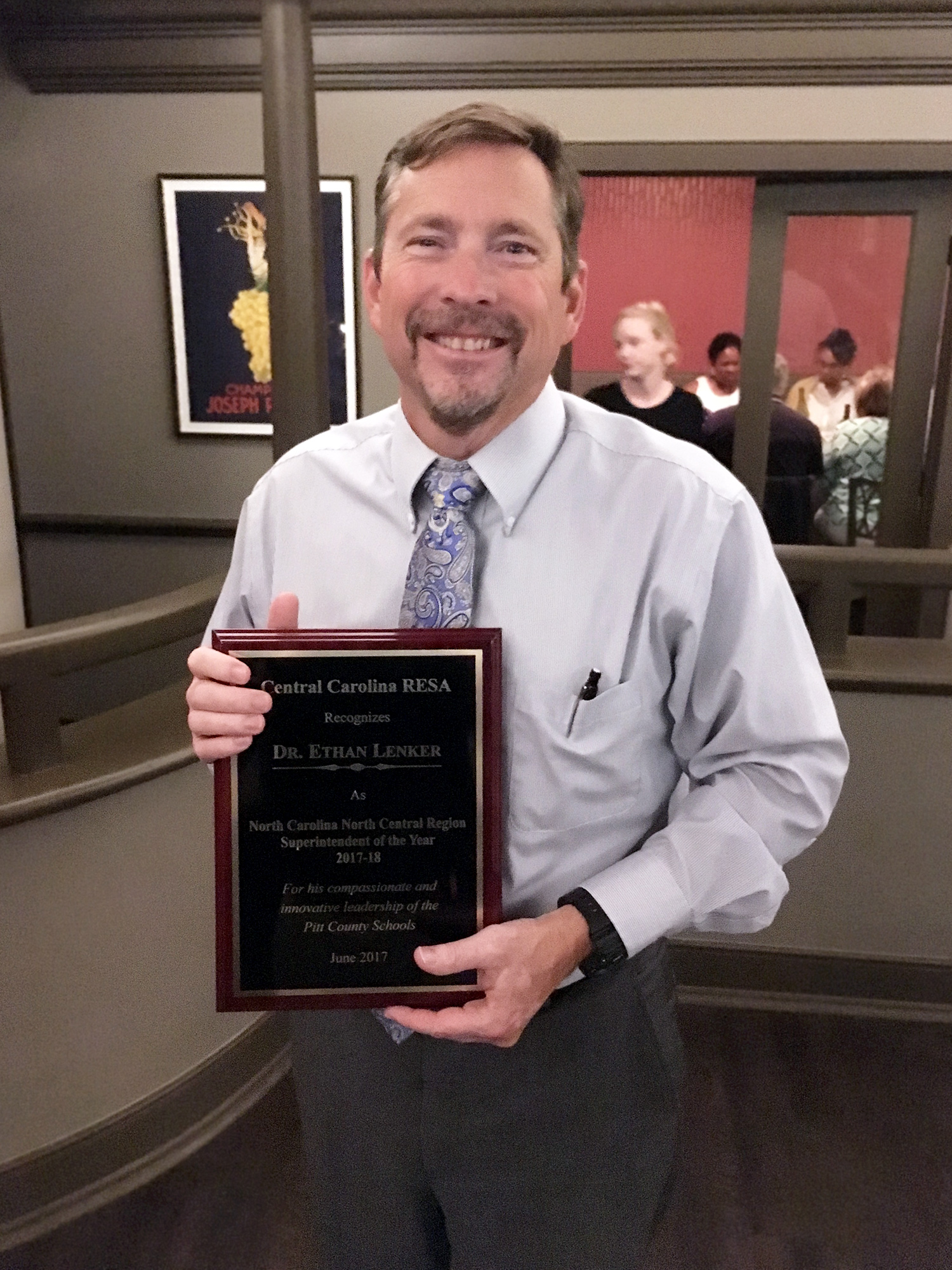 ECU alumnus and Pitt County Schools Superintendent Dr. Ethan Lenker was named the 2017-2018 North Central Regional Superintendent of the Year by the Central Carolina Regional Education Service Alliance. (Contributed photo by CCRESA)
