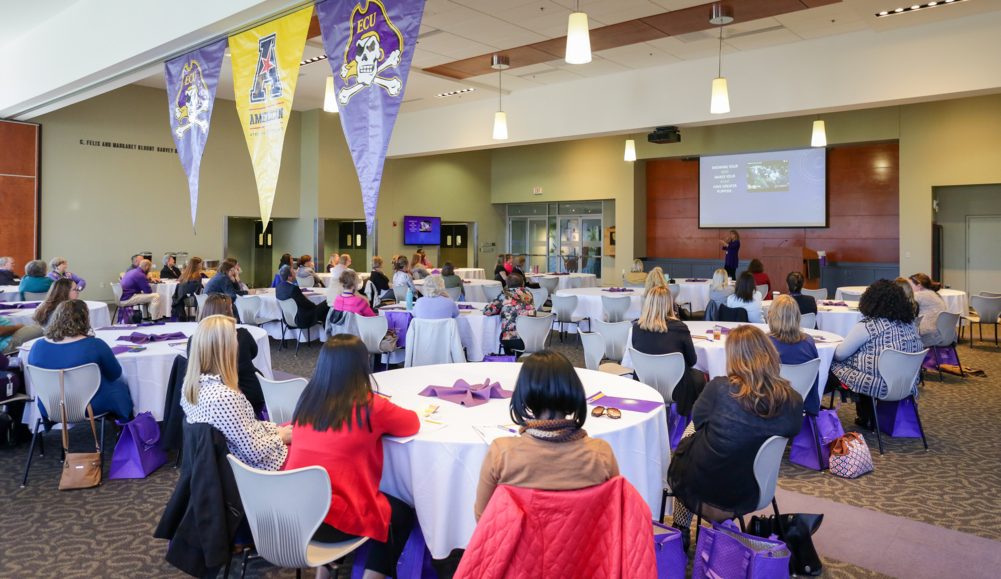North Carolina Teacher of the Year Lisa Godwin speaks to ECU College of Education clinical teacher partners at the Murphy Center on Monday, Oct. 30.