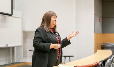 Representative Jean Farmer-Butterfield, D-Pitt, Wilson, speaks to College of Education students to kick off a mock legislative session on Monday, Nov. 14.