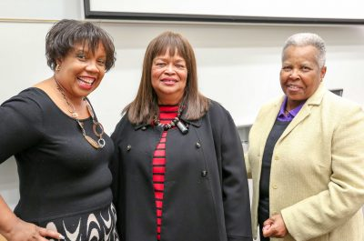Representative Jean Farmer-Butterfield, D-Pitt, Wilson (middle), stands with Rhea Mills, left, ECU associate professor of Science Education, and ECU College of Education Professional Advisory Board member Brenda Jones.