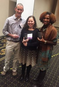 Drs. Loni Crumb, from right, Syntia Santos Dietz, and Scott Glass were honored at the North Carolina Counseling Association's annual conference in Durham, NC on Feb. 1.