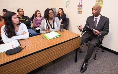 Social Work Faculty talks with Students