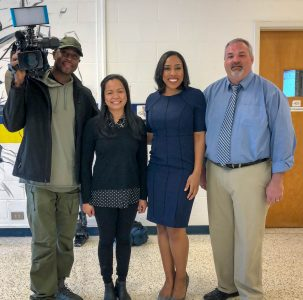 Mary Yoo, second from left, was named WRAL's Teacher of the Week Wednesday, March 21. Yoo is a science teacher at Princeton High School in Johnson County.