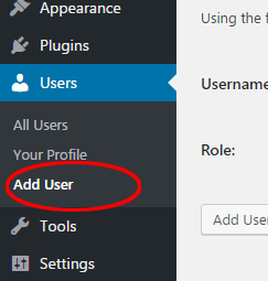 Adding a user to WordPress
