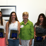 Photo:  Interim Dean Jan Lewis, Kimberly Miller (third place), Sarah Stout (second place), Liz Sparrow, Ashley Campbell (first place) and Charles Ward, President of Friends of Joyner Library.