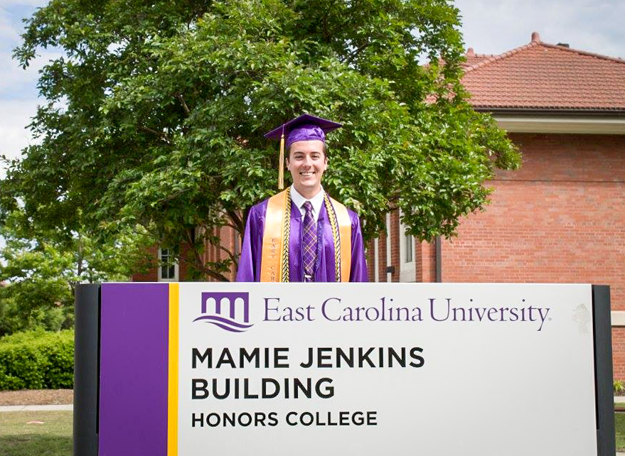 Vaughn after graduation from ECU in May 2015.