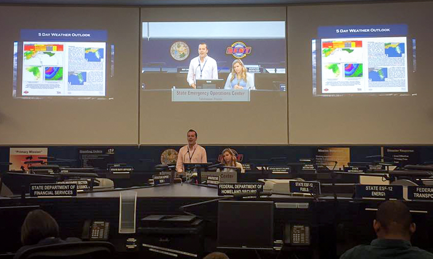Vaughn gives a weather briefing at the Florida Division of Emergency Management in Tallahassee, Fla.