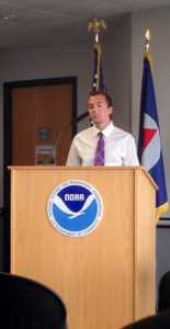 Vaughn presents information at the National Weather Service headquarters in Silver Spring, Md.