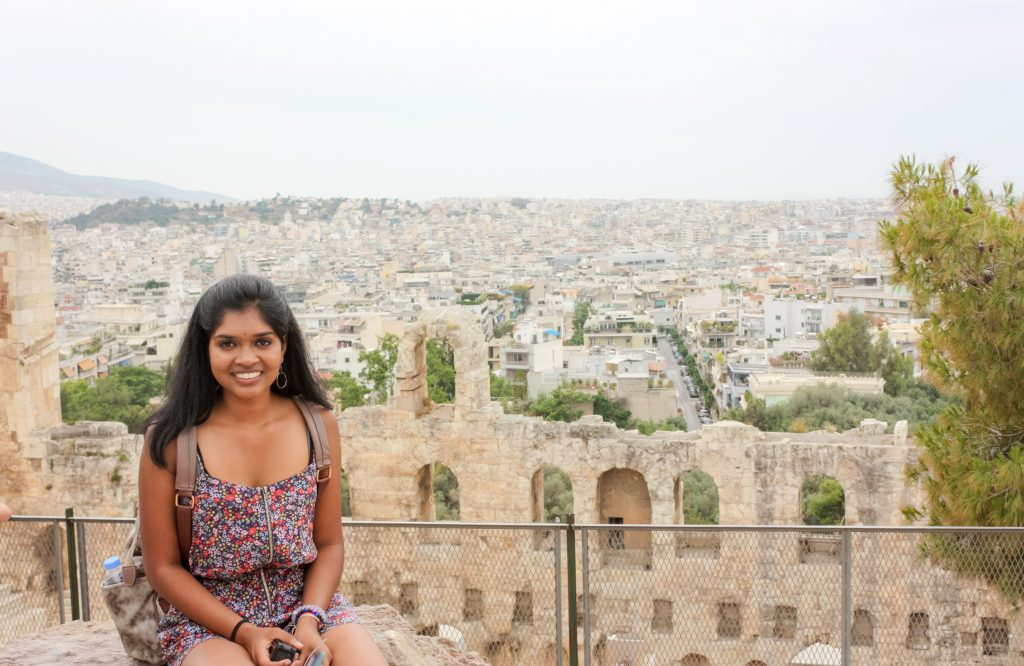 Rising junior EC Scholar Ananya Koripella during her medical fellowship in Greece this summer.