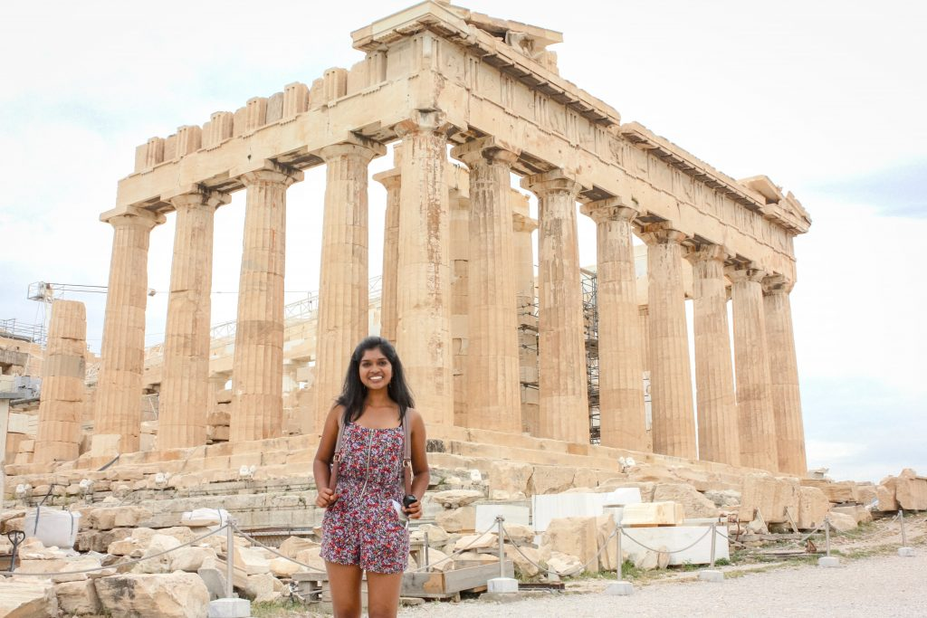 Rising junior EC Scholar Ananya Koripella in Greece this summer.